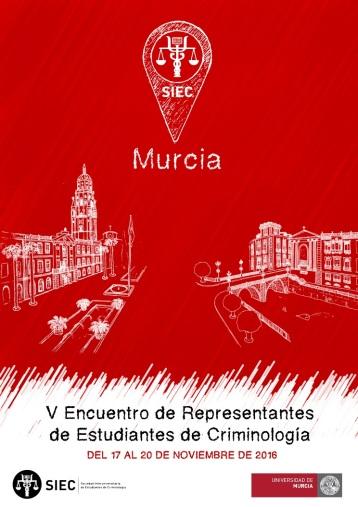 Cartel del V Encuentro de Representantes Estudiantiles de Criminología, celebrado en Murcia.