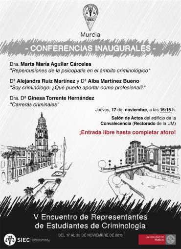 Conferencias inaugurales del V Encuentro (16:15 horas, Rectorado de la Universidad de Murcia)